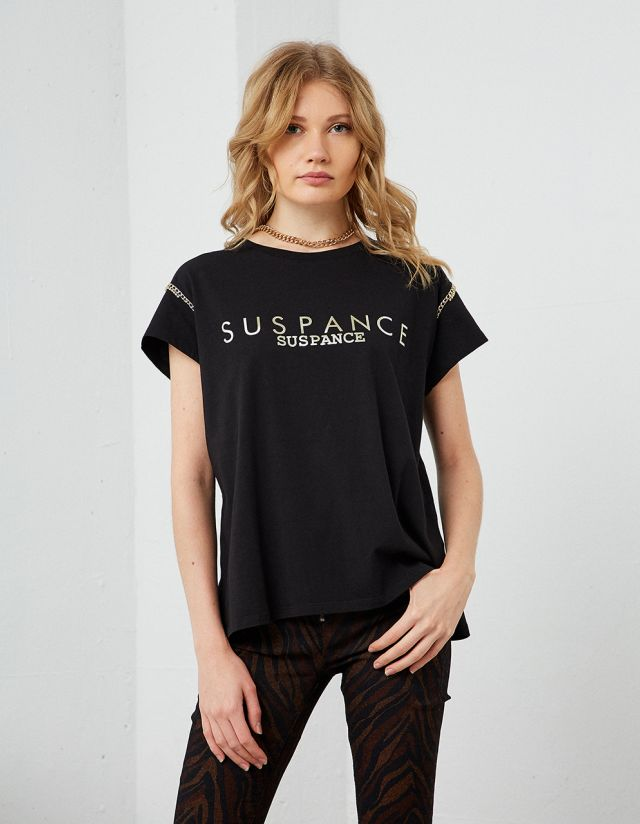 T-SHIRT WITH FRONT LOGO AND CHAINS