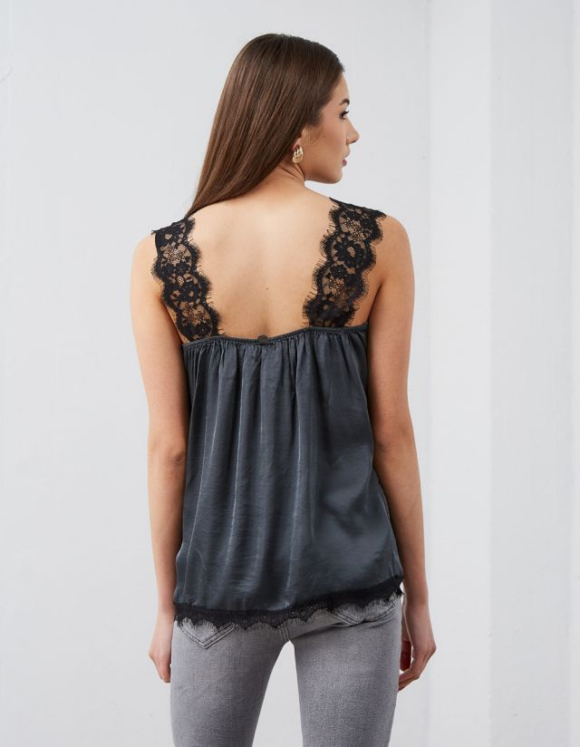 SATIN TOP WITH LACE TRIM