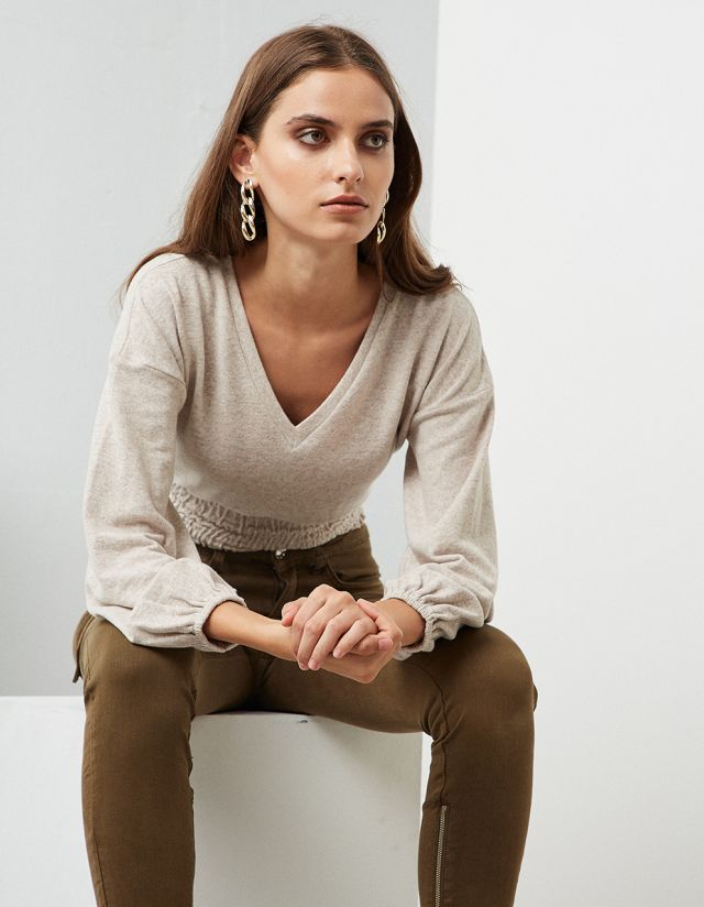 BLOUSE WITH SHIRRED WAIST