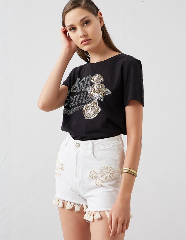 T-SHIRT WITH JEWELED LOGO