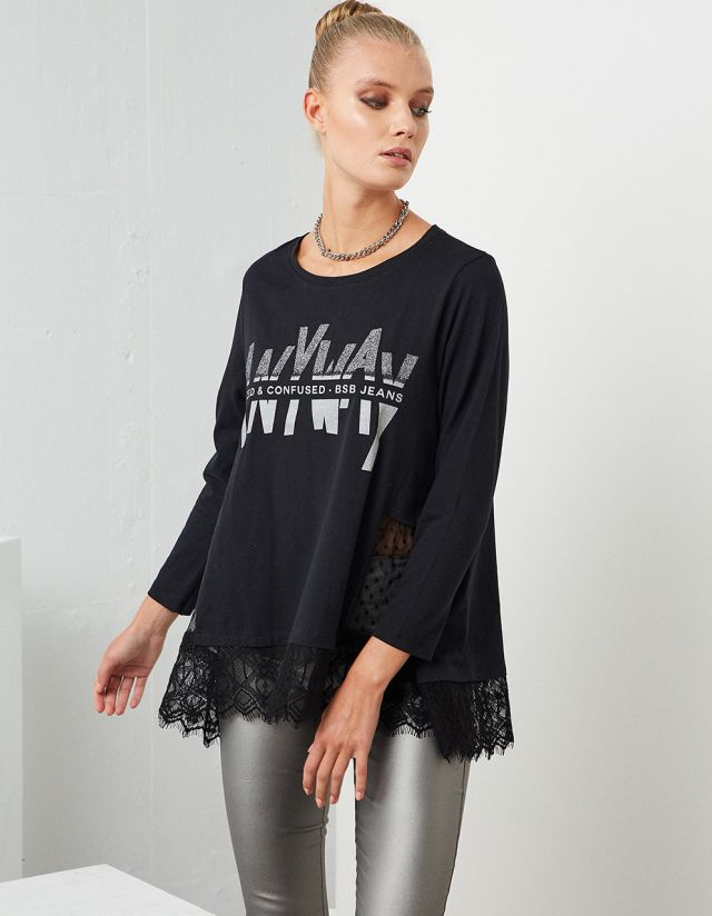 T-SHIRT WITH LACE HEM