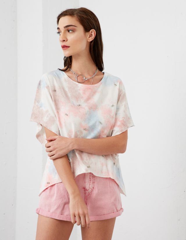 TIE-DYE T-SHIRT WITH STRASS