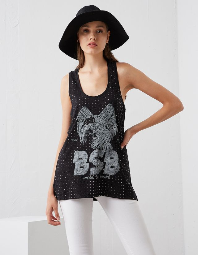 T-SHIRT WITH PRINT AND STRASS