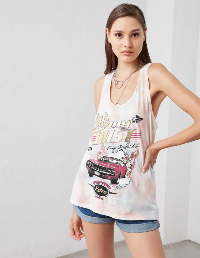 SLEEVELESS TIE-DYE T-SHIRT