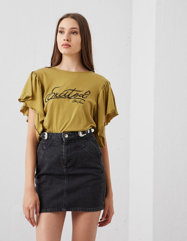 T-SHIRT WITH FRILLS SLEEVES