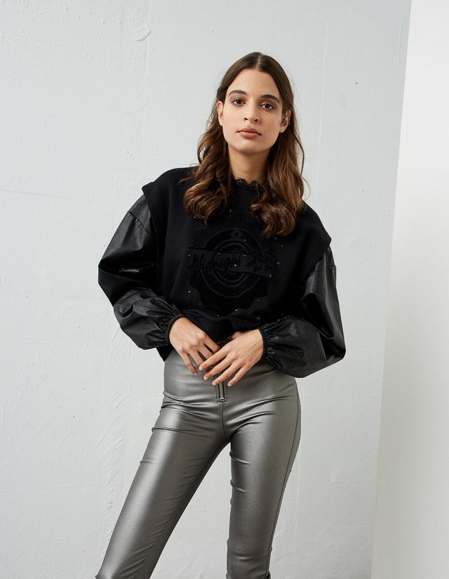 SWEATSHIRT WITH LEATHER EFFECT SLEEVES
