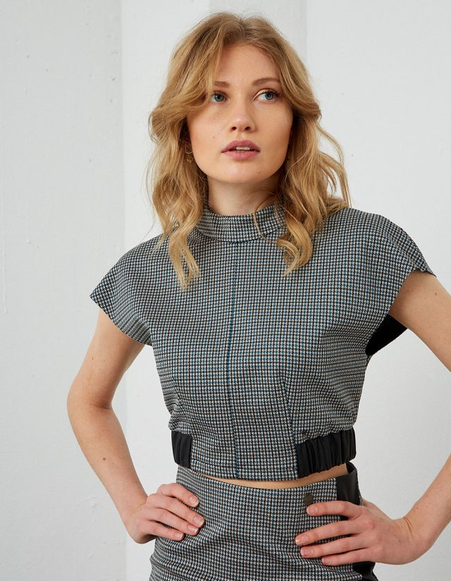 PIED DE COQ CROP TOP