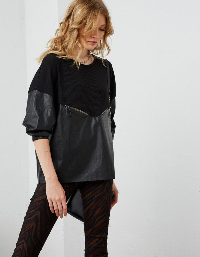 DOUBLE FABRIC LONG SLEEVE TOP