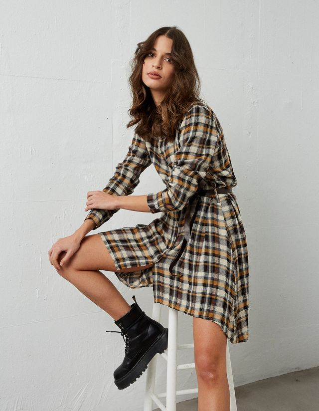 SHIRTDRESS IN CHECK PRINT