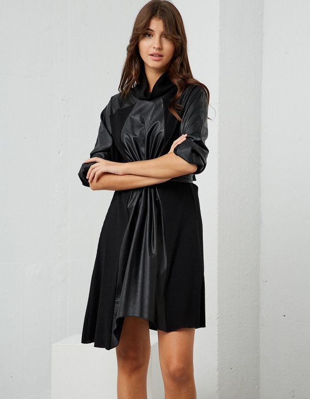 KNIT DRESS WITH LEATHER EFFECT DETAIL