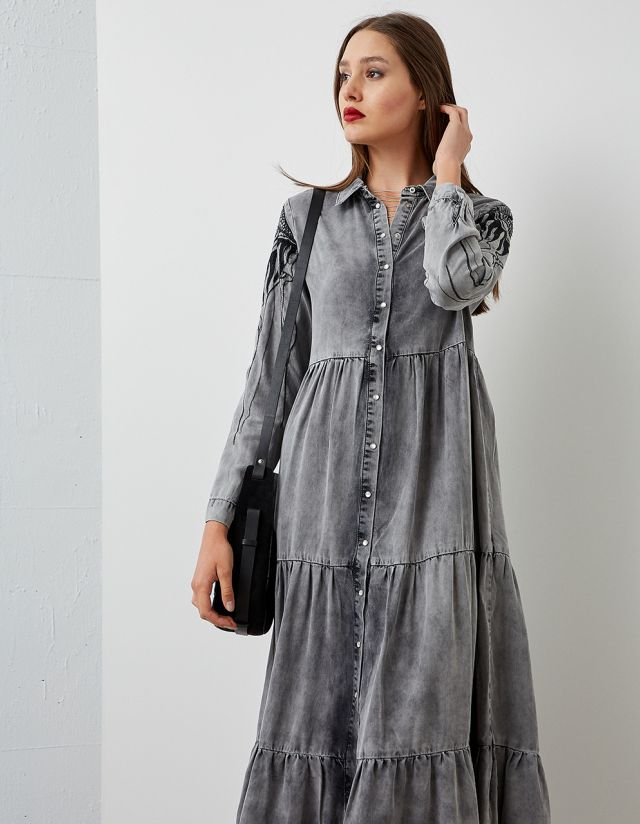 MAXI DENIM DRESS WITH EMBROIDERY