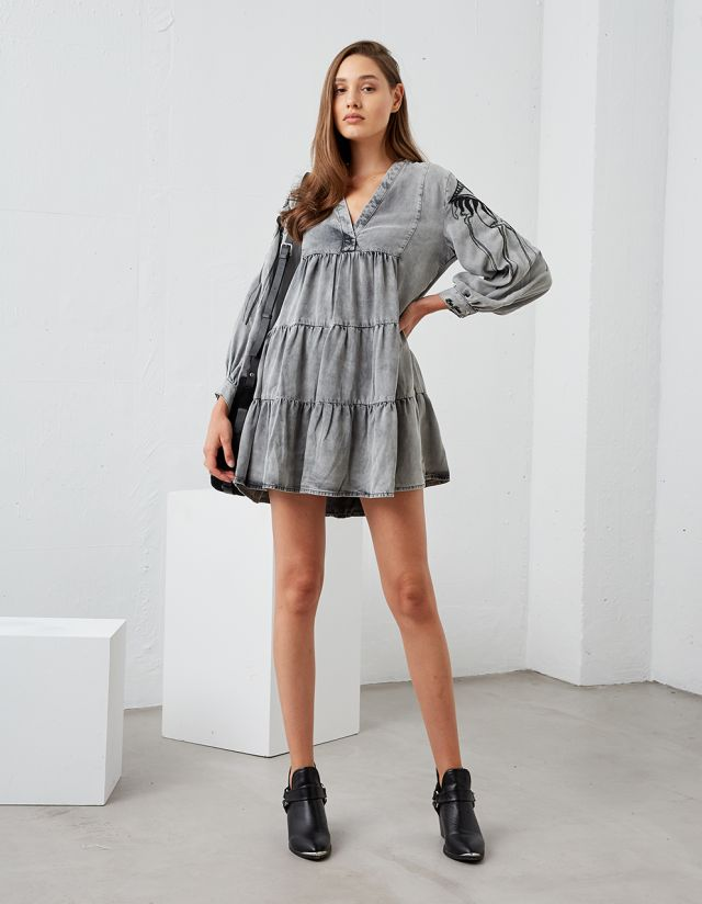 DENIM DRESS WITH EMBROIDERED SLEEVES