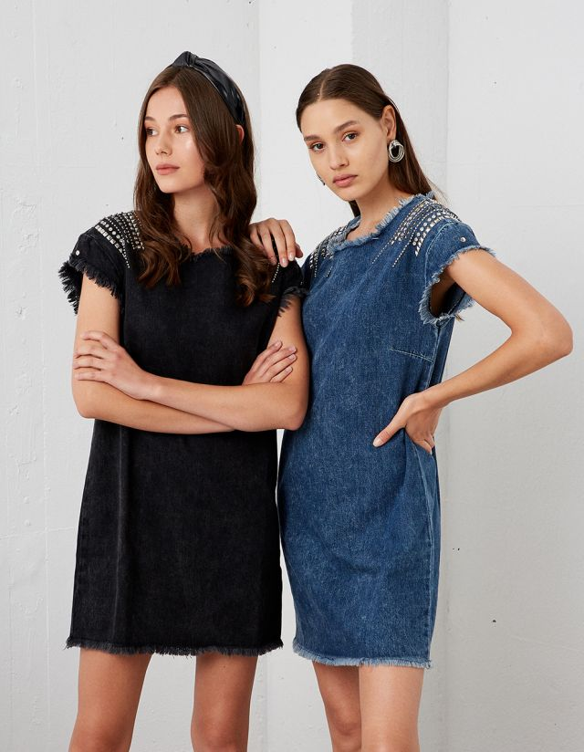 DENIM DRESS WITH STUDS