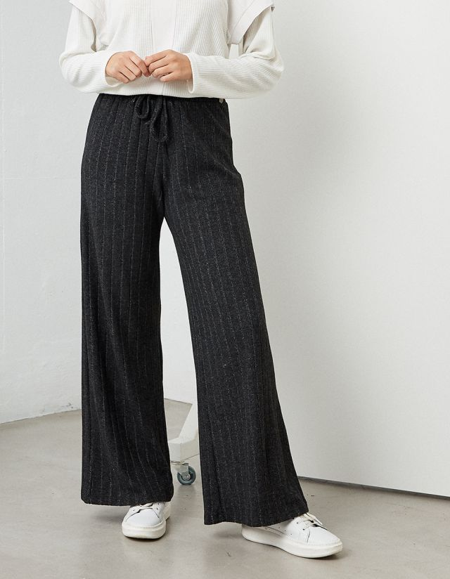 WIDE LEG STRIPPED TROUSERS