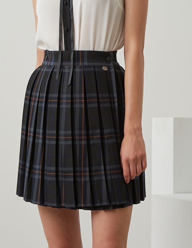 MINI CHECKED PLEATED SKIRT