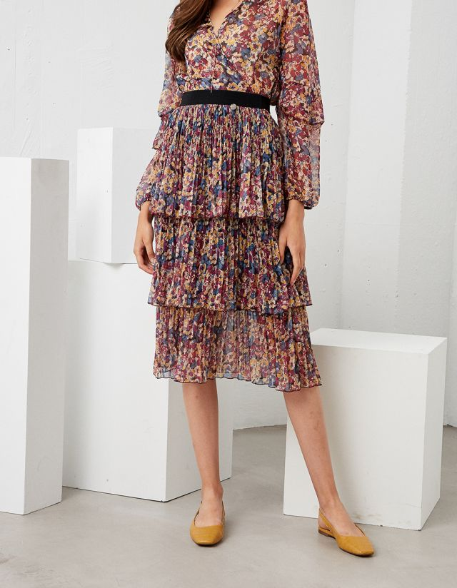 FLORAL SKIRT WITH FRILLS