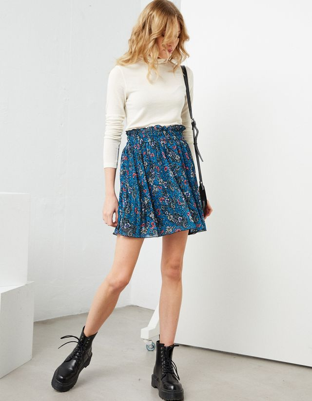 MINI PRINTED SKIRT WITH PLEATS