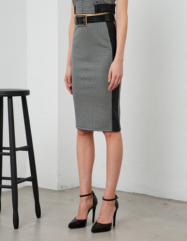PENCIL PIED DE POULE MIDI SKIRT