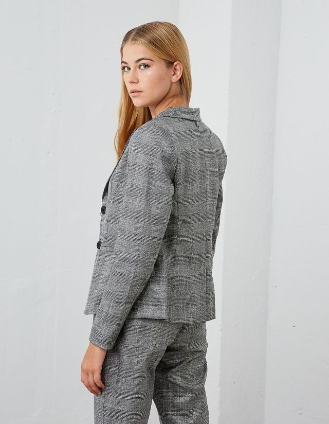 CHECKED BLAZER WITH LAPEL COLLAR
