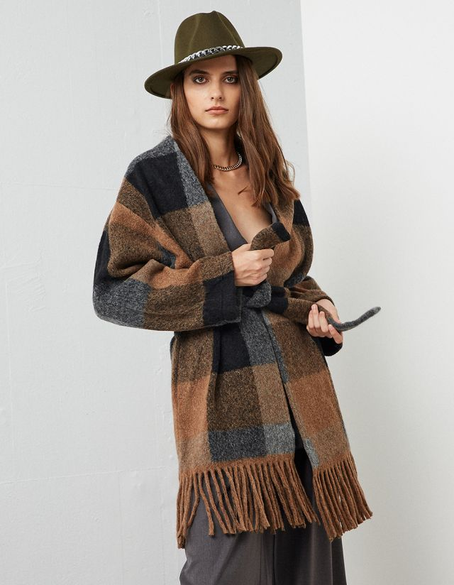 WOLLEN PLAID CARDIGAN