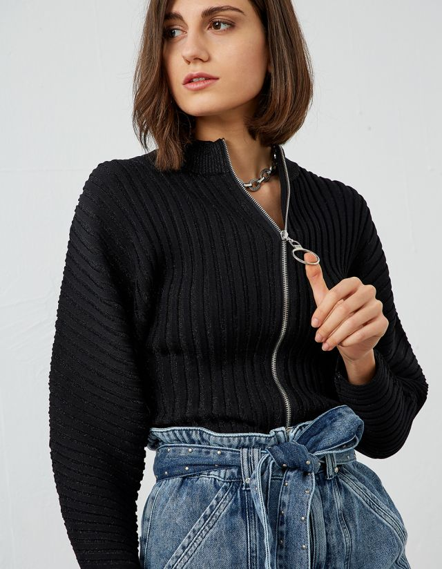 KNITTED CARDIGAN WITH ZIPPER