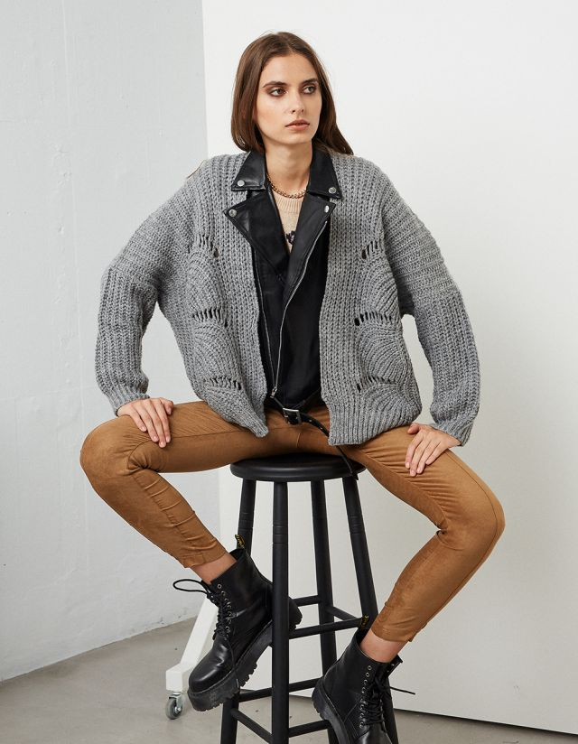 KNITTED CARDIGAN WITH LEATHER DETAILS