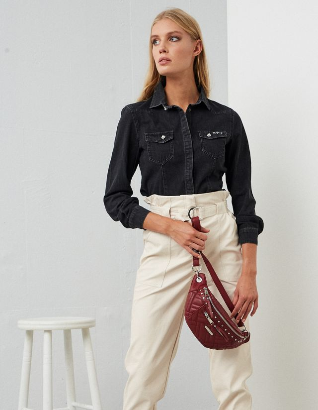 DENIM SHIRT WITH BEJEWELED BUTTONS