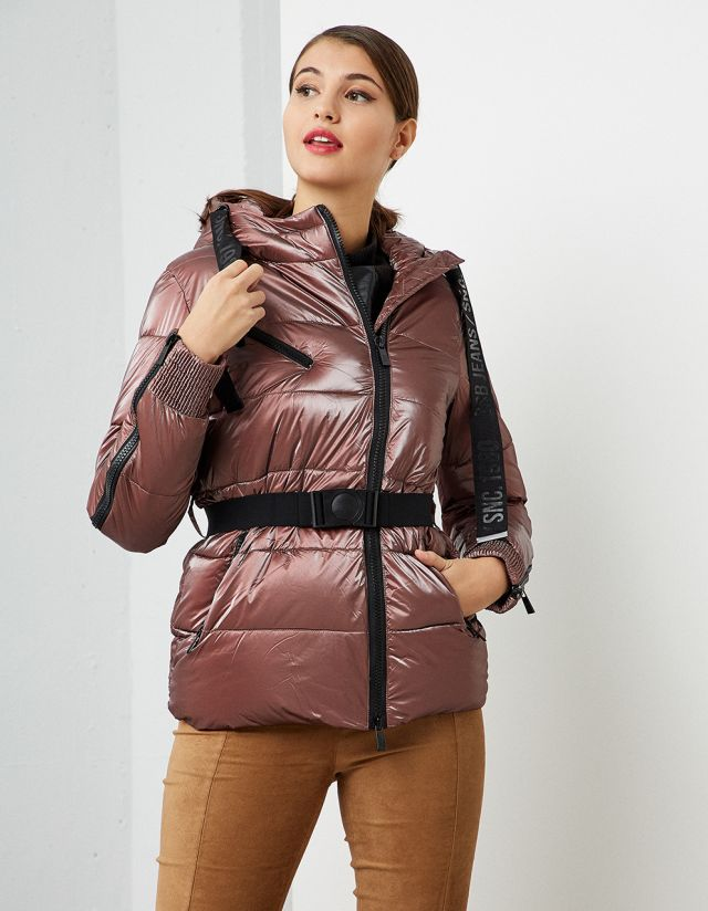 PADDED SHINY JACKET WITH BELT