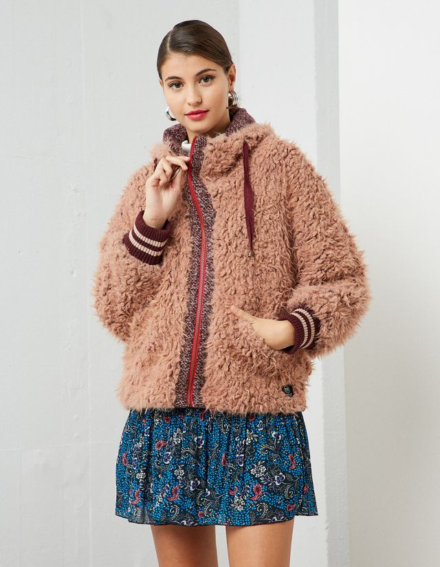 CARDIGAN WITH SHAGGY FAUX FUR