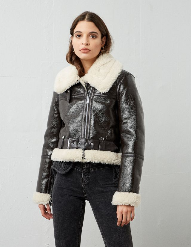 VINYL FAUX FUR JACKET