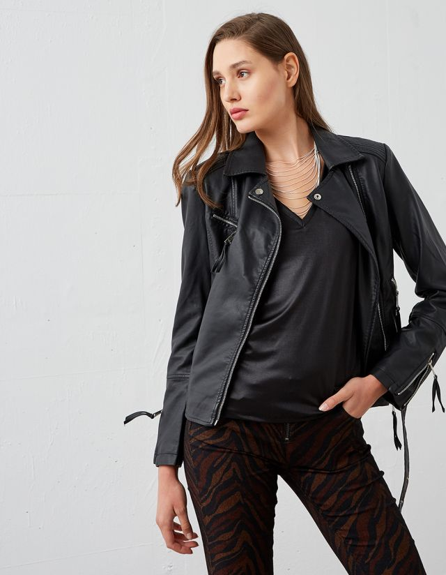 LEATHER EFFECT BIKER JACKET