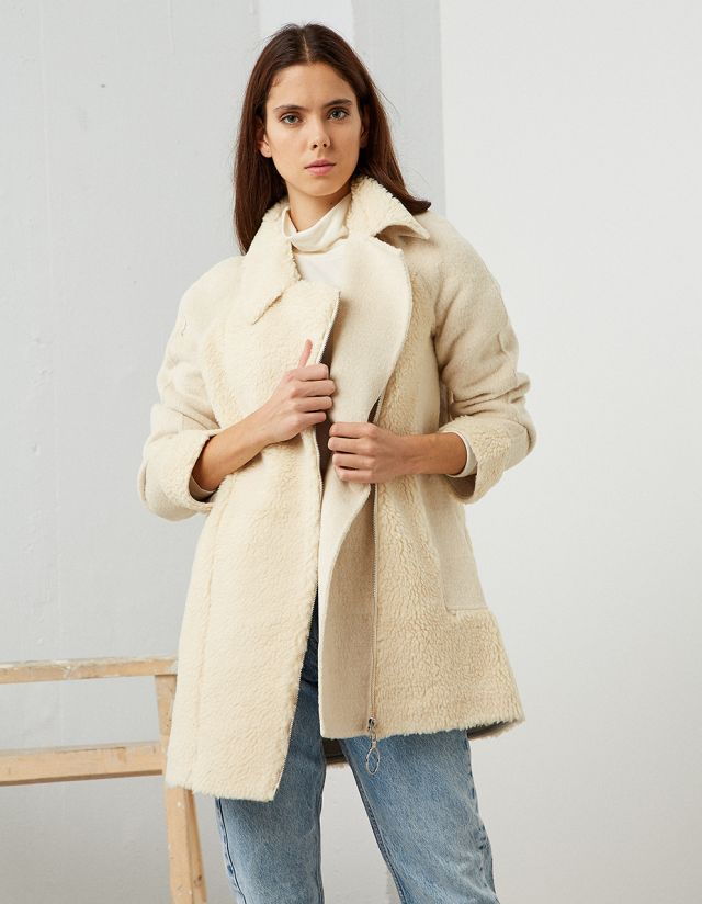 WOOL COAT WITH ZIPPER