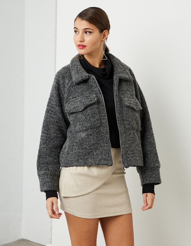 WOOLEN CROPPED JACKET
