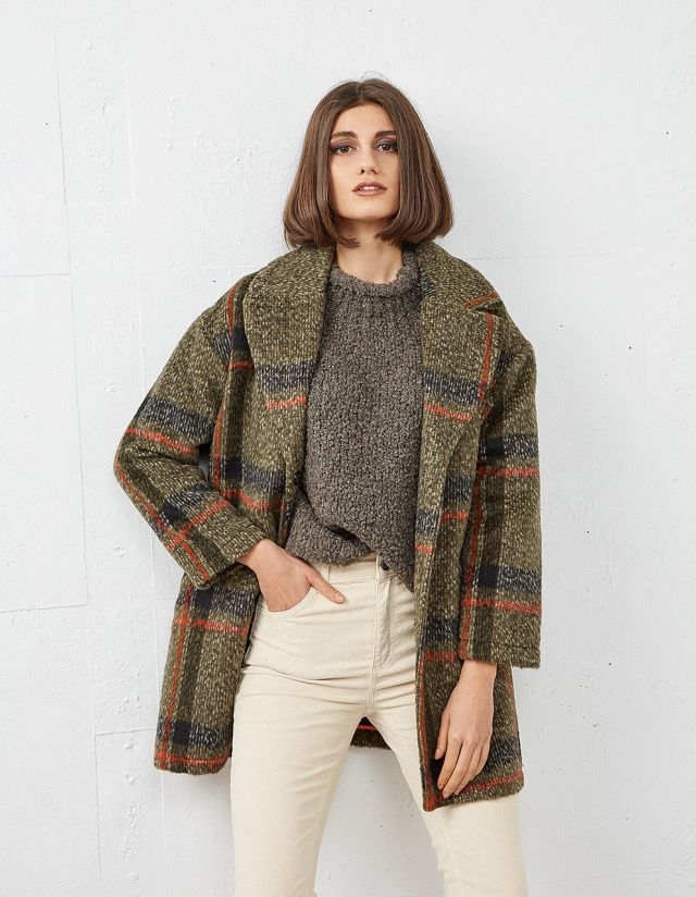 CHEKC WOOL COAT