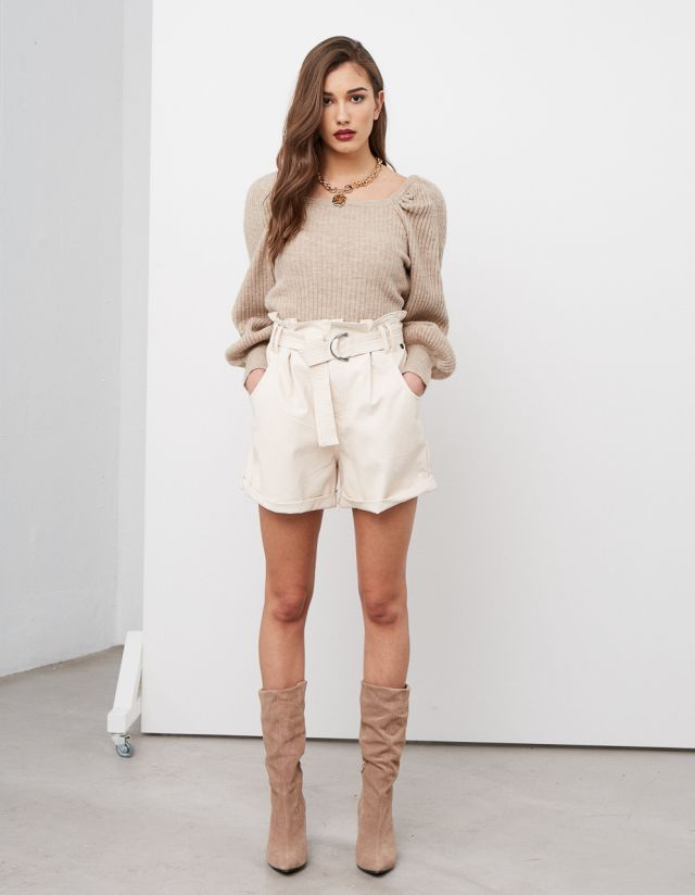 LEATHER EFFECT SHORTS