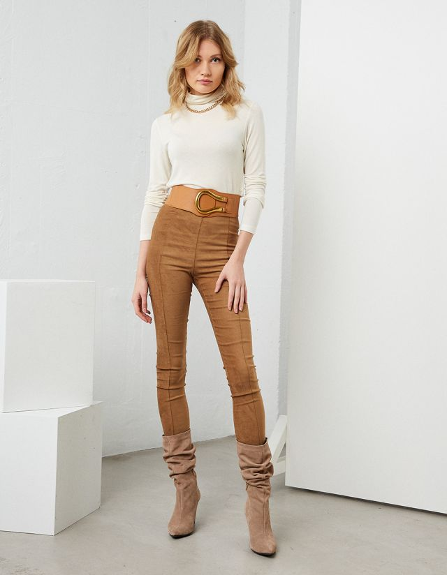 HIGH WAIST SUEDE LEGGINGS