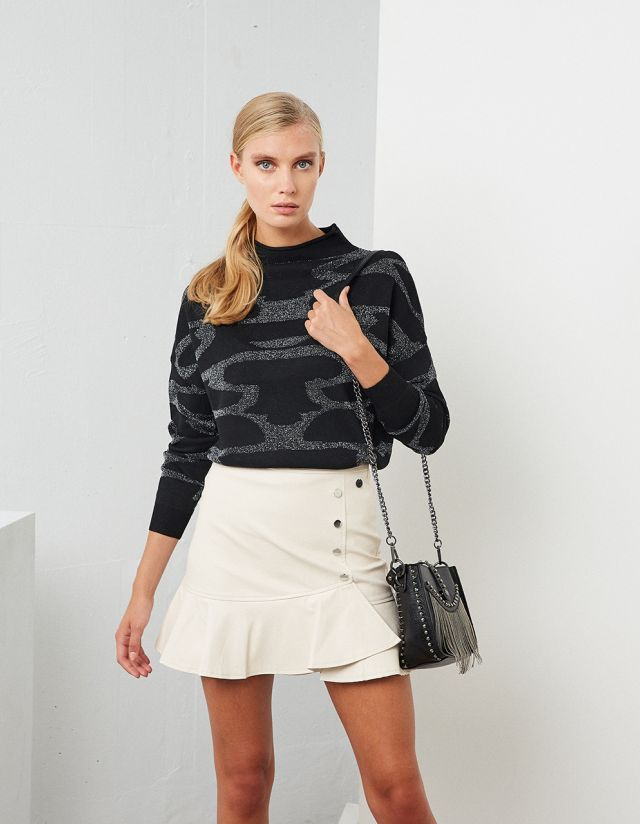 SWEATER WITH LUREX PRINT