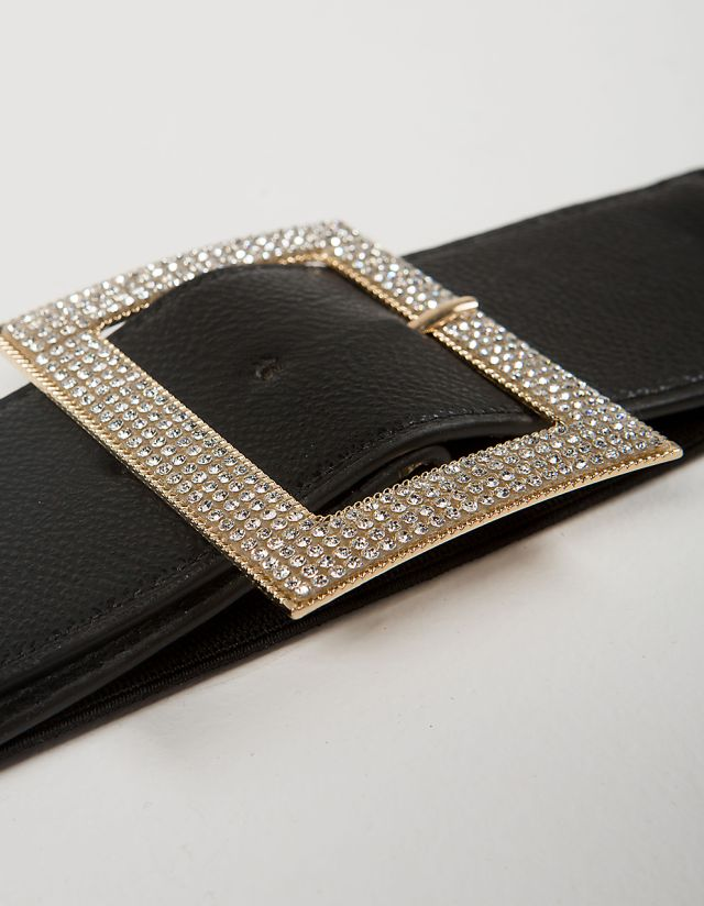 WIDE BELT WITH BEJEWELED BUCKLE