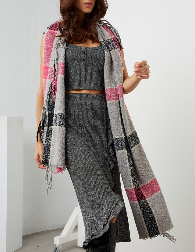 WIDE PLAID PRINT SCARF