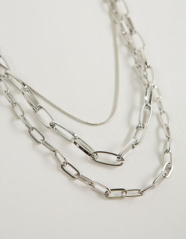 METALLIC TRIPLE ROW NECKLACE