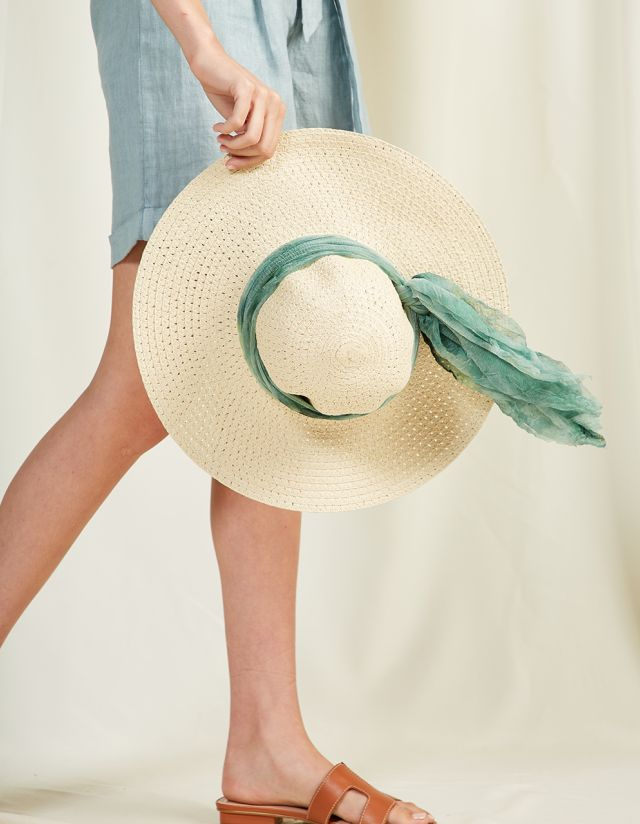STRAW HAT WITH SCARF