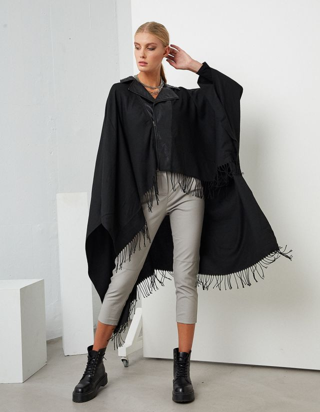 ASYMMETRIC CAPE WITH FRINGES