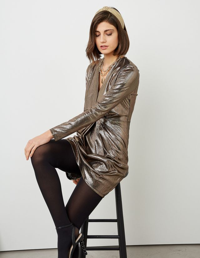 METALLIC DRESS WITH RUCHED FRONT