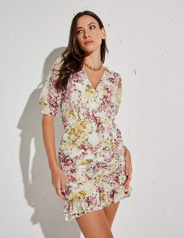 FLORAL DRESS WITH EMBROIDERY