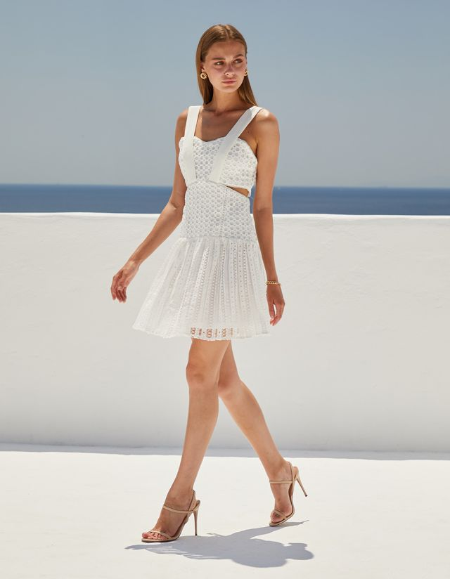 DRESS WITH CUTWORK EMBROIDERY