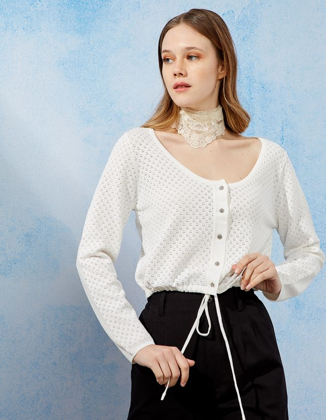 CROP CARDIGAN WITH BUTTONS