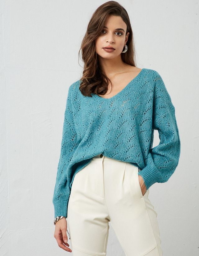 MOHAIR POINTELLE SWEATER