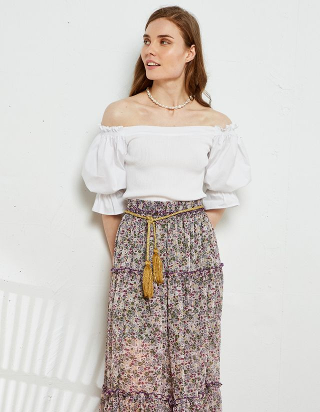 OFF THE SHOULDER BLOUSE WITH RUFFLES