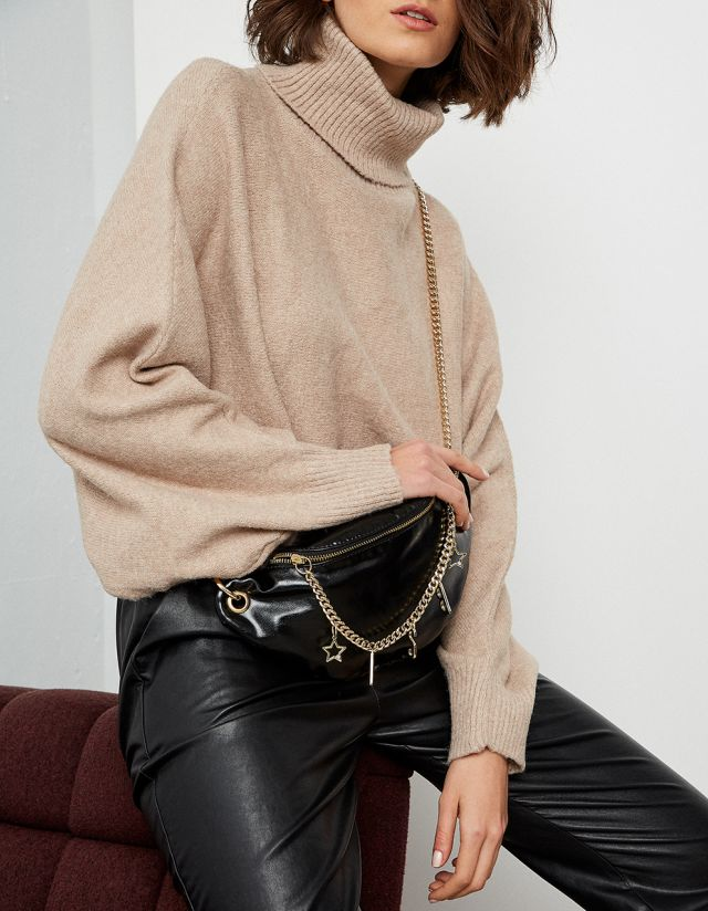 TURTLENECK CROPPED KNIT SWEATER