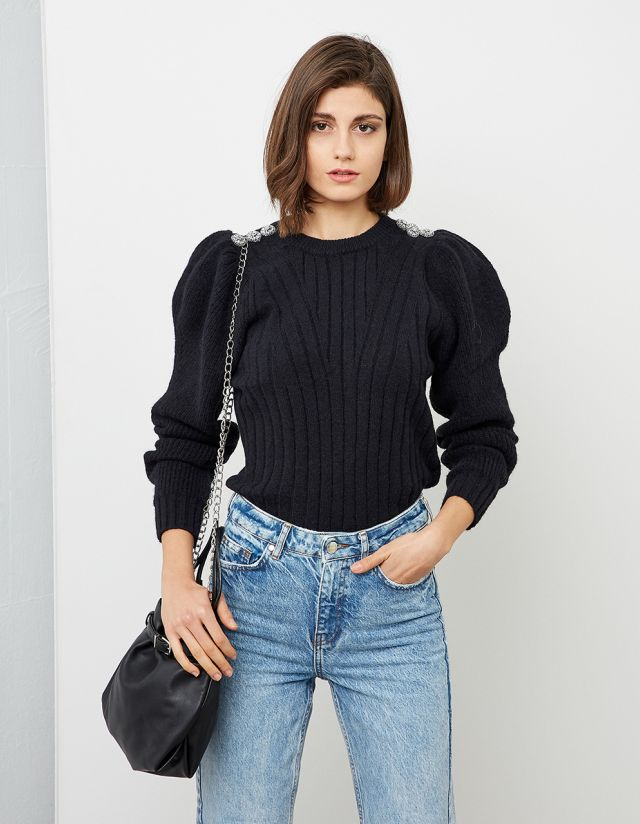 RIB KNIT SWEATER WITH PUFF SLEEVES